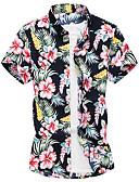 hesapli Erkek Gömlekleri-Erkek Klasik Yaka Gömlek Desen, Çiçekli Sokak Şıklığı Havuz / Kısa Kollu