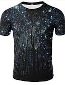 billige T-shirts og undertrøjer til herrer-Rund hals Herre - Galakse / 3D Trykt mønster Plusstørrelser T-shirt Sort XXL