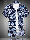 cheap Men's Shirts-Men's Plus Size Shirt - Floral Print Classic Collar Blue XXXXL / Short Sleeve