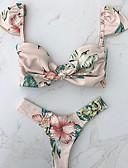 cheap Bikinis-Women's Beige Cheeky Tankini Swimwear - Floral S M L Beige