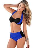 halpa Bikinis-Naisten Perus Vaalean sininen Armeijan vihreä Laivastosininen Niskalenkki Korkea vyötärö Tankini Uima-asut - Color Block Solmittava M L XL Vaalean sininen