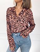 رخيصةأون قمصان نسائية-قميص فضفاض اليومي للمرأة - كامو / التمويه الخامس الرقبة احمرار اللون الوردي