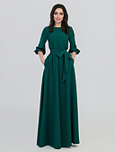 cheap Evening Dresses-Women's Boho A Line Dress - Solid Colored Lace up Green L XL XXL