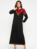 cheap Arabian Clothing-Women's Basic Sheath Dress - Color Block Black L XL XXL