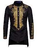 お買い得  メンズシャツ-男性用 ジャカード / プリント シャツ スタンドカラー トライバル コットン ホワイト XL