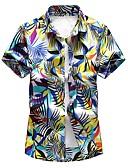 abordables Camisas de Hombre-Hombre Tallas Grandes Estampado - Algodón Camisa, Cuello Inglés Floral Azul Piscina XXXXL