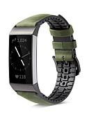 זול להקות Smartwatch-צפו בנד ל Fitbit Charge 3 פיטביט אבזם מודרני סיליקוןריצה / עור אמיתי רצועת יד לספורט