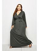 hesapli Kız Çocuk Kıyafet Setleri-Kadın's Temel Sokak Şıklığı Kılıf Çan Elbise - Solid Maksi