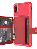 cheap iPhone Cases-Case For Apple iPhone XR / iPhone XS Max Wallet / Card Holder / with Stand Back Cover Solid Colored Hard PU Leather / TPU / Metal for iPhone XS / iPhone XR / iPhone XS Max