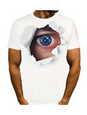 hesapli Erkek Tişörtleri ve Atletleri-Erkek Yuvarlak Yaka Tişört 3D Beyaz / Kısa Kollu