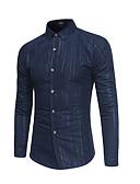 levne Pánské košile-Pánské - Geometrický Košile Bavlna Černá XL