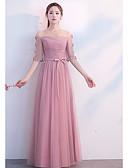 abordables Robes de Demoiselles d'Honneur-Fourreau / Colonne Encolure dégagée Long Tulle Robe de Demoiselle d'Honneur  avec Plissé par LAN TING Express