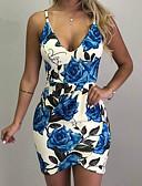 저렴한 로맨틱 레이스-여성용 플러스 사이즈 섹시 슬림 바디콘 드레스 - 플로럴, 프린트 미니 딥 V / 데이트