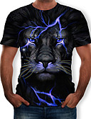 povoljno Muške majice i potkošulje-Majica s rukavima Muškarci 3D / Životinja Okrugli izrez Print Crn XL
