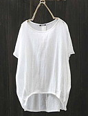 abordables Ropa árabe-Mujer Tallas Grandes Camiseta Corte Ancho Un Color Negro XXXL