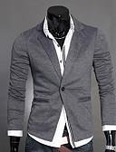 Недорогие Мужские блейзеры и костюмы-Муж. Блейзер, Однотонный V-образный вырез Полиэстер Черный / Темно-серый / Светло-серый L / XL / XXL