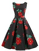 preiswerte Retro-Königin-Damen Retro Elegant Hülle Swing Kleid - Druck, Punkt Blumen Midi