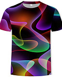 お買い得  メンズTシャツ&タンクトップ-男性用 プリント Tシャツ ラウンドネック カラーブロック / 3D コットン レインボー XL