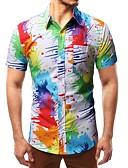billige Herreskjorter-Klassisk krave Herre - Geometrisk Trykt mønster Skjorte Regnbue L