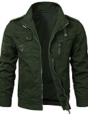 cheap Men's Jackets & Coats-Men's Daily / Holiday Punk & Gothic / Military Spring & Summer / Fall & Winter Short Jacket, Solid Colored Shirt Collar Long Sleeve Cotton / Polyester Embroidered Dark Gray / Gray / Army Green L / XL