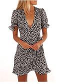 abordables Vestidos Estampados-Mujer Básico Línea A Corte Swing Vestido - Retazos, A Lunares Sobre la rodilla