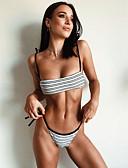 cheap Bikinis-Women's Basic White Triangle Cheeky Bikini Swimwear - Striped Backless S M L White