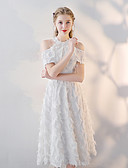 abordables Robes de Demoiselles d'Honneur-Trapèze Licou Midi Dentelle Robe de Demoiselle d'Honneur  avec Appliques par LAN TING Express