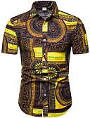 abordables Camisas de Hombre-Hombre Casual Playa Estampado Camisa, Cuello Inglés Geométrico / Tribal Amarillo XXXL / Verano