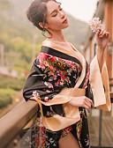cheap Women's Jumpsuits & Rompers-Adults' Women's Kimonos Japanese Traditional Kimono Jinbei Bathrobe For Halloween Daily Wear Festival Elastane Polyster Belt Tanga Bath Robe