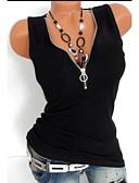 hesapli Tişört-Kadın's V Yaka İnce - Kısa Paltolar Solid Siyah