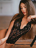 abordables Bodys-Femme Grandes Tailles Jupes - Couleur Pleine Dentelle / Dos Nu Blanche Noir XL XXL XXXL / Licou / Super sexy