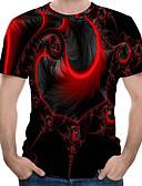 זול טישרטים לגופיות לגברים-3D צווארון עגול טישרט - בגדי ריקוד גברים אודם