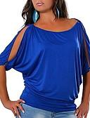 abordables Camisetas para Mujer-Mujer Tallas Grandes Hombros Caídos Camiseta Delgado Un Color Morado XXXL