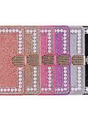 Недорогие Чехлы для телефонов-Кейс для Назначение SSamsung Galaxy A5(2018) / A6 (2018) / A6+ (2018) Кошелек / Бумажник для карт / Стразы Чехол Сияние и блеск / Стразы / Цветы Твердый Кожа PU
