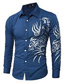 رخيصةأون سترات و بدلات الرجال-رجالي قميص ياقة كلاسيكية طباعة هندسي / الرسم / ترايبال نبيذ L