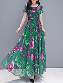 hesapli Print Dresses-Kadın's Temel Kılıf Elbise - Çiçekli Maksi