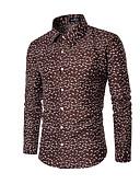 billige Herreskjorter-Herre - Prikker Trykt mønster Plusstørrelser Skjorte Brun XXL