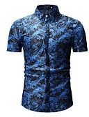 abordables Camisas de Hombre-Hombre Camisa Delgado Floral Azul Piscina XL