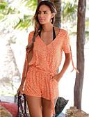 رخيصةأون Tropical Storm-L XL XXL منقط / ورد, ثياب خارجية فضفاضة ساق عريضه برتقالي منخفضة V رقبة ملابس الشاطئ / أناقة الشارع شاطئ نسائي