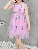 お買い得  女児 ドレス-子供 / 幼児 女の子 活発的 / 甘い フラワー リボン / メッシュ / 刺繍 ノースリーブ 膝丈 コットン / ポリエステル ドレス ホワイト