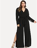 abordables Robes Grandes Tailles-Femme Noir Ample Combinaison-pantalon, Couleur Pleine Dentelle XL XXL XXXL