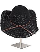 preiswerte Damenhüte-Damen nette Art,Stroh Strohhut Sonnenhut Solide Sommer Ganzjährig Beige Kamel Grau