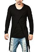 hesapli Erkek Tişörtleri ve Atletleri-Erkek Pamuklu Yuvarlak Yaka Tişört Haç Desenli, Solid Siyah