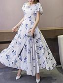זול שמלות מקרית-מקסי קפלים דפוס, אחיד - שמלה שיפון סווינג מתוחכם אלגנטית בגדי ריקוד נשים