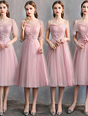 baratos Vestidos para Madrinhas-Linha A Decote Princesa Até os Joelhos Tule Vestido de Madrinha com Renda de LAN TING Express