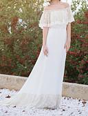 Χαμηλού Κόστους Μακριά Φορέματα-Γυναικεία Εκλεπτυσμένο Κομψό Τρομπέτα / Γοργόνα Φόρεμα - Μονόχρωμο, Δαντέλα Με Βολάν Μακρύ