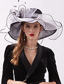 abordables Robe Demoiselle d'Honneur-Organza / Plumes Kentucky Derby Hat / Fascinators / Coiffe avec Plume / Fleur / Etagée 1 Pièce Mariage / De plein air Casque