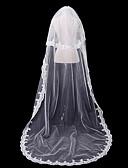 preiswerte Hochzeitsschleier-Zweischichtig Spitzen-Saum / Spitze Hochzeitsschleier Kapellen Schleier mit Einfarbig 118,11 in (300cm) 100% Polyester