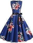 cheap Vintage Dresses-Women's Boho Swing Dress - Floral Geometric Blue L XL XXL