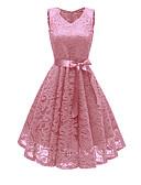 billige Vintagedronning-kvinners midi slank swing kjole v nakke vin rosa marine blå s m l xl